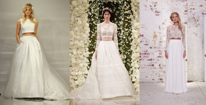 crop top wedding gown designs